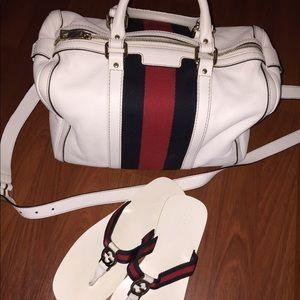 Gucci bag and slides set